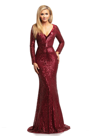 Johnathan Kayne 2020 long sleeve beaded v neckline mermaid prom dress