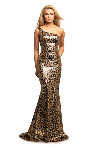 Johnathan Kyane 2028 is a one shoulder leopard print Prom Dress, Pageant Gown & Formal Evening Wear Gown. Featuring a solid sequin embellished leopard print material. One shoulder neckline with a Fit & Flare Mermaid silhouette with subtle trumpet skirt.