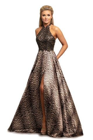 Johnathan Kayne 2030 Leopard Print Prom Dress Pageant Gown Embellished High Neck