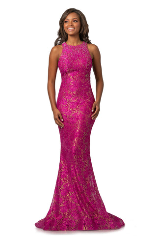 Johnathan Kayne 2036 Size 12 Metallic Shimmer Lace Fitted Prom Dress 2020 Pageant Gown