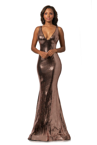 Johnathan Kayne 2044 Size 10 Metallic Long Mermaid Disco Prom Dress 2020 Pageant Gown