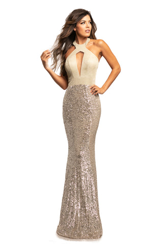 Johnathan Kayne 2050 Size 10 Long Fitted Sequin Shimmer Prom Dress Pageant Gown 2020