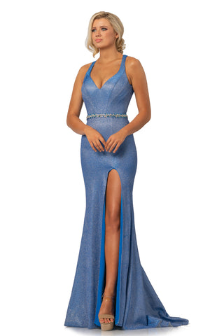 Johnathan Kayne 2071 is a Metallic Shimmer Prom Dress, Pageant Gown & Formal Evening Wear. Metallic Shimmer Material adds a touch of glam to this timeless style. V neckline with wide straps leading around to a cutout open back. crystal embellished waist belt. Fit & Flare Silhouette with a slit in the skirt and small train.