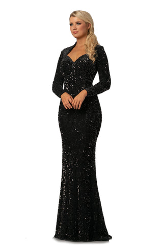 Johnathan Kayne 2084 is a Velvet Sequin Prom Dress, Pageant Gown & Formal Evening Wear.  This Long Fitted Sequin Embellished Velvet Dress Featuring a sweetheart neckline with long sleeves.