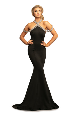 Johnathan Kayne 2085 is a off the shoulder straps Prom Dress, Pageant Gown & Formal Evening Wear. This Long Fitted Mermaid Gown Features a high neckline with a Crystal choker leading into Crystal Embellished off the shoulder draping straps. Small sweeping train.