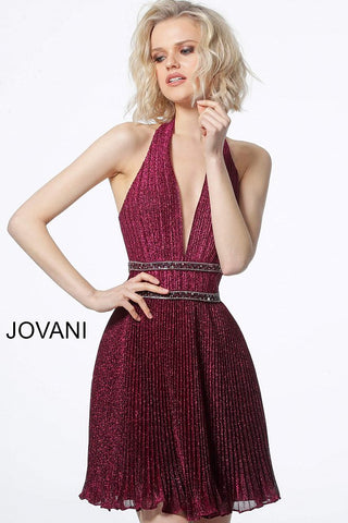 Jovani 2086 halter neckline pleated cocktail dress