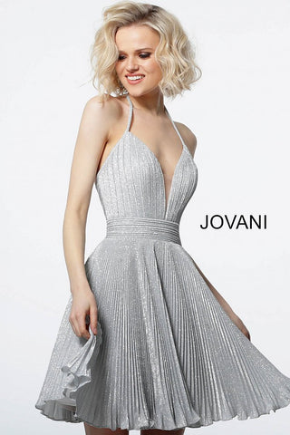 Jovani 2087 plunging neckline pleated cocktail dress