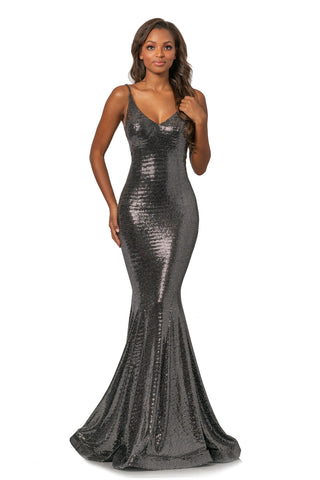 Johnathan Kayne 2087 Size 12 Metallic Shimmer V Neck Mermaid Prom Dress Pageant Gown