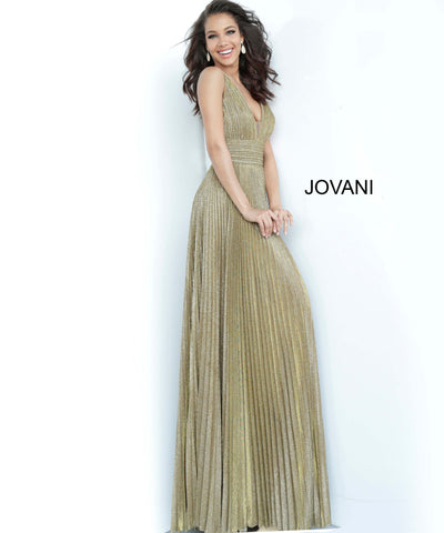 Jovani 2088 is fit for a Goddess! This Iridescent Shimmer Evening Gown features a Pleated Skirt, Thick Gathered Waistband and a Deep Plunging V Neckline. Excellent for Mother of the Bride, Prom, Pageant or your next ball or special formal event.   Available in Sizes: 0-24  Colors: antique/gold, black, rose/gold, sapphire