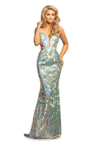Johnathan Kayne 2092 is a Iridescent Shimmer Mint Prom Dress, Pageant Gown & Formal Evening Wear.  This long fitted gown Features Iridescent Shimmer Reversible Sequin Material. Plunging neckline with mesh inserts. Rows of Crystal Embellishments line the neckline and side cutout panels. Open V Back with Embellishments.