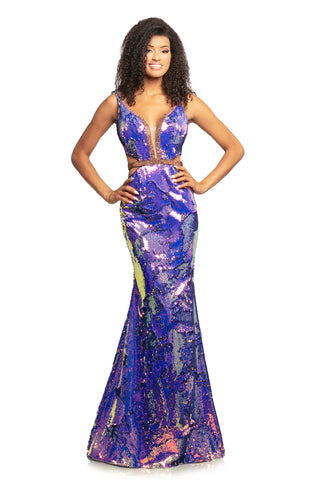 Johnathan Kayne 2092 is an Iridescent Shimmer Prom Dress, Pageant Gown & Formal Evening Wear.  This long fitted gown Features Iridescent Shimmer Reversible Sequin Material. Plunging neckline with mesh inserts. Rows of Crystal Embellishments line the neckline and side cutout panels. Open V Back with Embellishments.