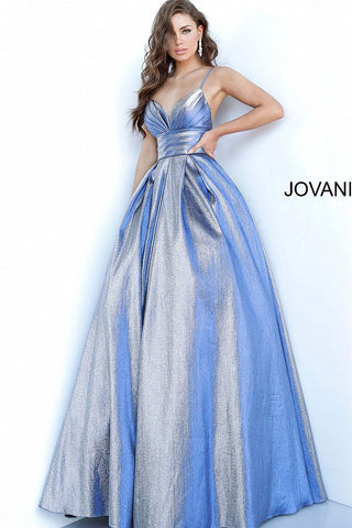 Jovani 2094 Prom Dress Pleated Bodice Metallic Shimmer Ball Gown Formal