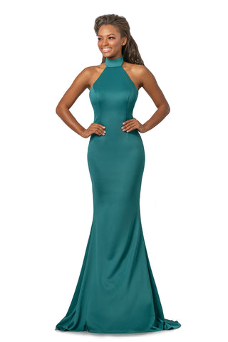 Johnathan Kayne 2096 is a Choker Neckline Prom Dress, Pageant Gown & Formal Evening Wear. This long Fitted high choker neckline dress features a a fit & Flare mermaid Silhouette and open back with sweeping train.