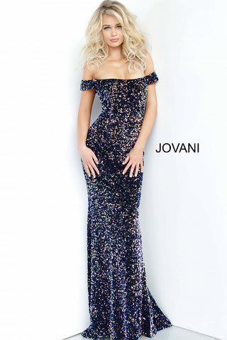Jovani 2102 Multi Sequin Embellished Long Prom Dress Shimmer Off Shoulder 2020