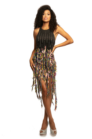 Johnathan Kayne 2105 High Neck Short Cocktail Party Dress Sequin Crystal Tassels