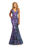 Johnathan Kayne 2106 is a velvet and sequins Prom Dress, Pageant Gown & Formal Evening Wear!  This Long Fitted Mermaid Dress Features a Stretch Velvet with Floral Iridescent  Sequin Embellishments along the entire dress. Deep V Neckline. with open V Back. Fit & Flare Silhouette with a Lush Trumpet Skirt. This Gown is Stunning!