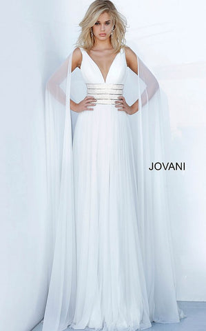 Jovani 2113 V Neck Chiffon Pageant Prom Dress Crystal Waist Belt Cape Sleeves 2020