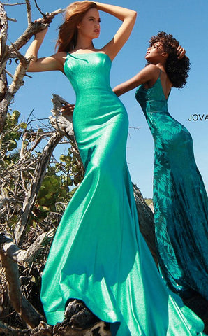 Jovani 02136 Metallic Long Shimmer One Shoulder Mermaid Prom Dress 2020 Gown