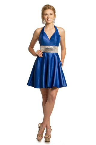 Johnathan Kayne 2161 is a short Fit & Flare Metallic Mikado Cocktail Dress. This Halter v neckline falls into a wide crystal embellished waist belt. Flared metallic shimmer skirt featuring Pockets! Great Pageant or Prom Gown Homecoming dress White Reception Dress.