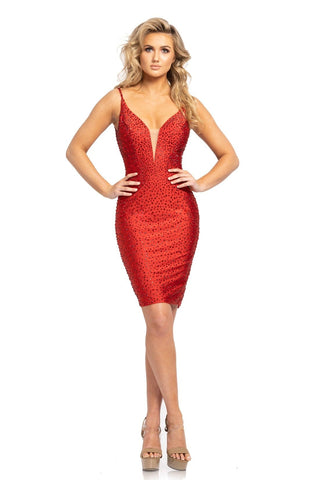 Johnathan Kayne 2163 is a short fitted jersey 4 way stretch lycra cocktail evening gown. Prom Dress Homecoming Dress Pageant Wear. Featuring a plunging deep v neckline with embellished spaghetti straps. The perfect length & amount of crystal embellishment accents. Great for Pageant & Prom