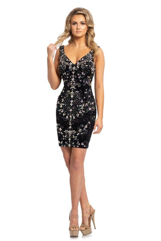 Johnathan Kayne 2165 is a short fitted Velvet Embellished formal evening dress. Featuring Hand beading and rhinestone crystal embellishments cascading along the lush velvet bodice. V Neckline with an open Deep V Drop Back. Wide shoulder straps. Prom Dress Homecoming Dress Interview Dress.