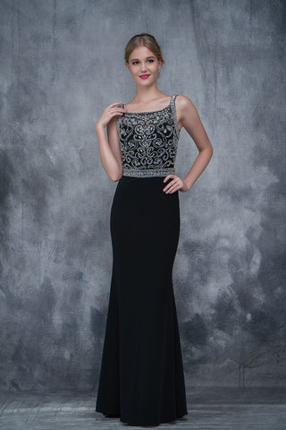 Nina Canacci 2166 embellished scoop top prom dress in Black size 10