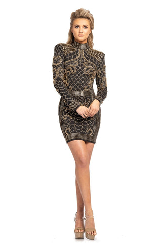 Johnathan Kayne 2167 Short Studded Long Sleeve Backless Dress Cocktail Gown