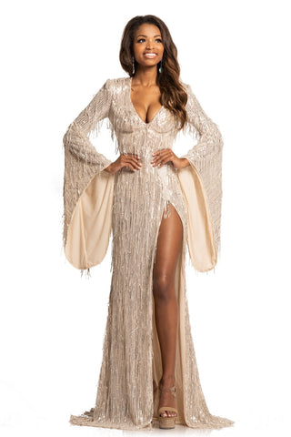 Johnathan Kayne 2170 Sequin Bell Sleeve Formal Dress Slit Tassel V Neck Sexy Adjustable