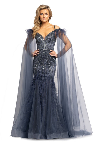 Johnathan Kayne 2173 Long Feather Embellished Mermaid Pageant Dress Cape