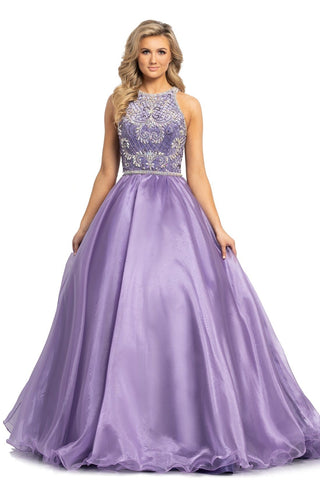 Johnathan Kayne 2175 is a Long Organza Ballgown Featuring a Velvet Bodice with a high neckline. Crystal embellished bodice edges and waist with hand beading adorning the modest fit. Prom Dress Pageant Gown   Available Colors: Periwinkle, White