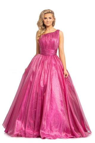 Johnathan Kayne 2179 is a long one shoulder metallic shimmer ballgown.  This one shoulder pageant gown features a pleated bodice & waistband leading to a Lush Ball Gown Skirt. Metallic Organza Prom Dress.   Available Colors: Metallic Fuchsia, Blueberry
