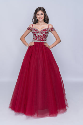 Nina Canacci 2181 Burgundy Size 18 Prom Dress Pageant Gown