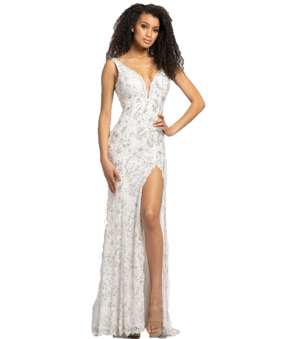 Johnathan Kayne 2181 Long Lace Sexy Embellished Pageant Prom Dress Slit