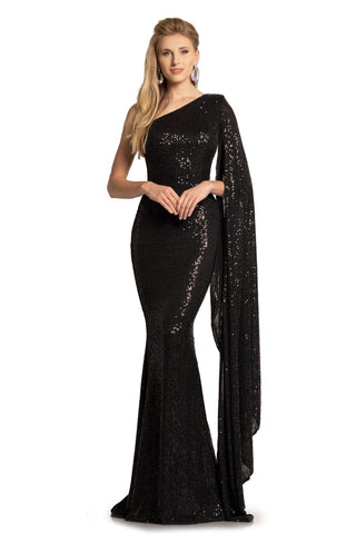 Johnathan Kayne 2190 Long Sequin Mermaid Dress One Bell Sleeve Cape Gown