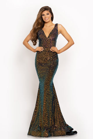 Johnathan Kayne 2202 is a Long Stretch Velvet & Sequin Embellished formal evening gown. Great for prom & Pageants this mermaid silhouette has a deep V neckline and v back. trumpet skirt with a sweeping train. Available Sizes: 00,0,2,4,6,8,10,12,14,16  Available: Colors: Black/Multi