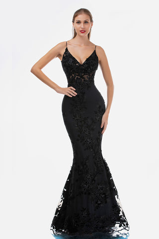 Nina Canacci 2241 Sheer Lace Floral Black Mermaid Prom Dress Evening Gown Sequin