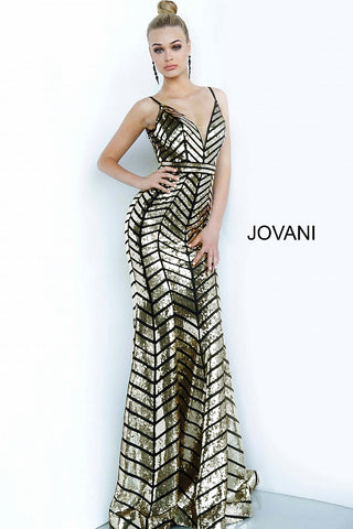 Jovani 2244 Long Sequin Embellished Fitted V Neck Prom Dress 2020 Gold Geometric