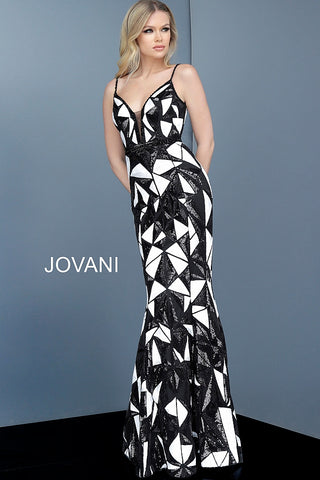 Jovani 2250 Black & White Sexy Sequin Formal Evening Gown Prom Dress Plunging