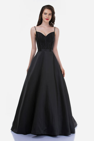 Nina Canacci 2250 is a long taffeta skirt ballgown prom dress featuring pockets! This lace embellished bodice has a v neckline and boning. The back of this pageant gown features a sheer lace design. spaghetti straps. Great formal evening gown.  Available Sizes: 4-18  Available Colors: Navy, Black, Royal