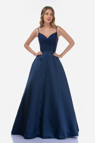 Nina Canacci 2250 is a long taffeta skirt ballgown prom dress featuring pockets! This lace embellished bodice has a v neckline and boning. The back features a sheer lace design. spaghetti straps. Great formal evening gown.  Available Sizes: 4-18  Available Colors: Navy, Black, Royal