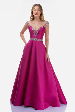 Nina Canacci 2265 is a Long Crystal Rhinestone Embellished Plunging deep sweetheart V Neckline with off the Shoulder Embellished cap sleeves. Sheer side mesh cutout panels and a crystal waistband. Open V Back with embellishments. Pleated Ballgown A Line Skirt with pockets.