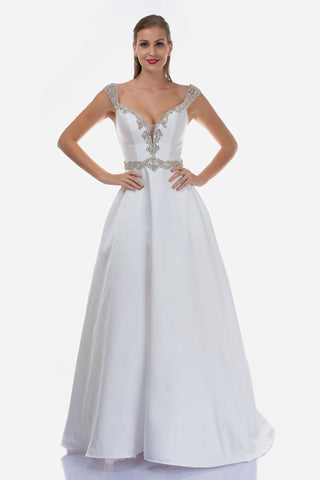 Nina Canacci 2265 is a Long Crystal Rhinestone Embellished Plunging deep sweetheart V Neckline with off the Shoulder Embellished cap sleeves. Sheer side mesh cutout panels and a crystal waistband. Open V Back with embellishments. Pleated Ballgown A Line Skirt with pockets. Great formal gown for any event. Mother of the Bride / Groom, Wedding Guest, Wedding Dress, Formal Black Tie & sweeping train. Great for Plus Size!