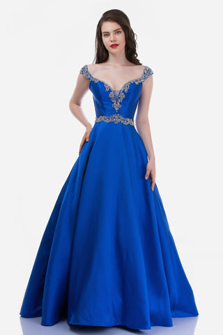 Nina Canacci 2265 is a Long Crystal Rhinestone Embellished Plunging deep sweetheart V Neckline with off the Shoulder Embellished cap sleeves. Sheer side mesh cutout panels and a crystal waistband. Open V Back with embellishments.