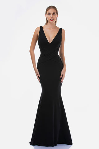 Nina Canacci 2267 Long Fitted V Neck Formal Evening Gown Mermaid Dress Wrap