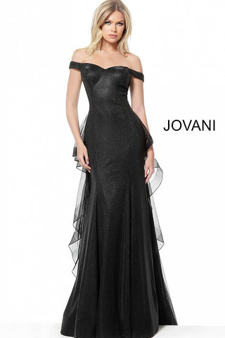 Jovani 2308 Black Off the shoulder evening gown