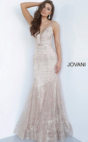 Jovani 2388 Crystal Embellished Long Mermaid Prom Dress Pageant Glitter Shimmer