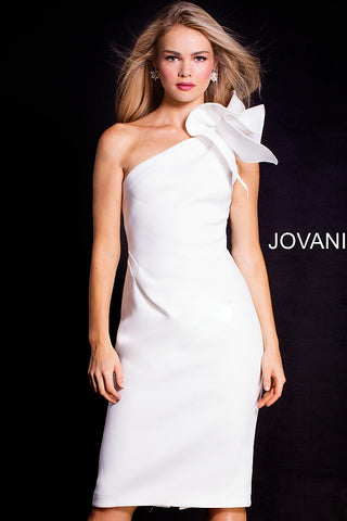 Jovani 23886 One shoulder ruffle three quarter length short dress