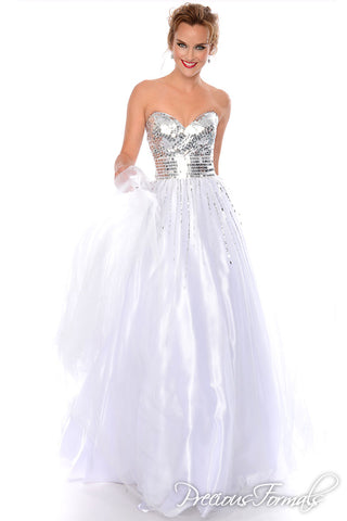 Precious Formals 46765 white size 00 Strapless Sweetheart ball gown Silver Sequins
