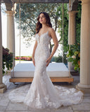 Casablanca bridal 2447 beaded floral lace fitted v neckline royal length train.