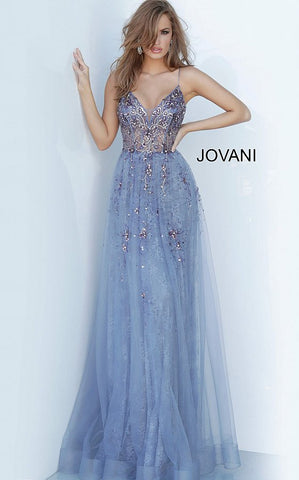 Jovani 2526 is a long A line Prom Dress, Evening Gown, Pageant Dress & Formal Wear Attire. Sheer Illusion Plunging V Neck Bodice with Boning & floral Appliques and Embellishments. Spaghetti straps. Lace A Line skirt with embellishments cascading into the skirt.  Available Sizes: 00, 0, 2, 4, 6, 8, 10, 12, 14, 16, 18, 20, 22, 24  Available Colors: Grey/Purple